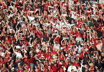 COLUMBIA, SC - OCTOBER 01:  Fans of the South Carolina Gamecocks cheer against the Auburn Tigers during their game at Williams-Brice Stadium on October 1, 2011 in Columbia, South Carolina.  (Photo by Streeter Lecka/Getty Images)