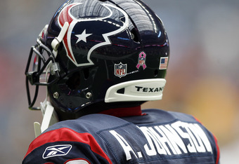HOUSTON - OCTOBER 02:  Wide receiver Andre Johnson #80  of the Houston Texans displays a Breast Cancer Awareness Pink Ribbon on his helmet at Reliant Stadium on October 2, 2011 in Houston, Texas.  (Photo by Bob Levey/Getty Images)