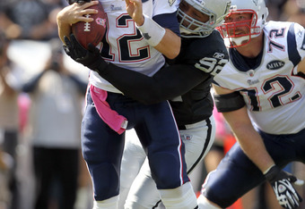 Richard Seymour, blaming the crowd noise, said he was not able to hear the referee's whistle and proceeded to take down Tom Brady. An unnecessary roughness penalty was called on this play.