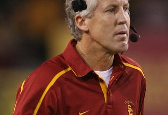 TEMPE, AZ - NOVEMBER 7:  Head coach Pete Carroll of the USC Trojans walks on the sideline against the Arizona State Sun Devils on November 7, 2009 at Sun Devil Stadium in Tempe, Arizona.  USC won 14-9.  (Photo by Jeff Golden/Getty Images)