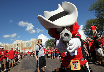 LUBBOCK, TX - SEPTEMBER 18:  Raider Red, the mascot of the Texas Tech Red Raiders, poses for a photo before a game against the Texas Longhorns at Jones AT&T Stadium on September 18, 2010 in Lubbock, Texas.  (Photo by Ronald Martinez/Getty Images)