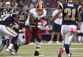 ST. LOUIS, MO - OCTOBER 2:  Ryan Torain #46 of the Washington Redskins runs the ball against the St. Louis Rams October 2, 2011 at the Edward Jones Dome in St. Louis, Missouri. The Redskins defeated the Rams 17-10. (Photo by Whitney Curtis/Getty Images)