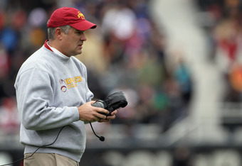 BOULDER, CO - NOVEMBER 13:  Head coach Paul Rhoads of the Iowa State Cyclones leads his team against the Colorado Buffaloes at Folsom Field on November 13, 2010 in Boulder, Colorado. Colorado defeated Iowa State 34-14.  (Photo by Doug Pensinger/Getty Imag