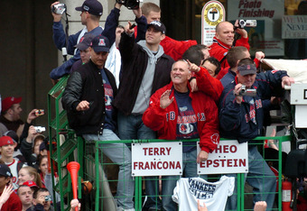 Manager Terry Francona and GM Theo Epstein Celebrate the Sox' 2004 World Series Victory
