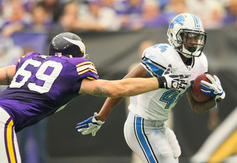 MINNEAPOLIS, MN - SEPTEMBER 25:  Jahvid Best #44 of the Detroit Lions carries the ball for a gain against  Jared Allen #69 of the Minnesota Vikings at the Hubert H. Humphrey Metrodome on September 25, 2011 in Minneapolis, Minnesota.  (Photo by Adam Bettch