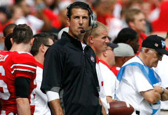 COLUMBUS, OH - SEPTEMBER 10:  Head Coach Luke Fickell of the Ohio State Buckeyes watches a replay as his team takes on the Toledo Rockets on September 10, 2011 at Ohio Stadium in Columbus, Ohio. Ohio State defeated Toledo 27-22. (Photo by Kirk Irwin/Getty