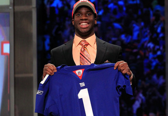 Prince Amukamara poses at the NFL Draft.