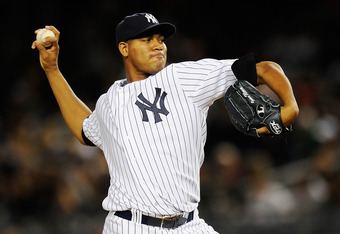 NEW YORK, NY - OCTOBER 01:  Ivan Nova #47 of the New York Yankees throws a pitch against the Detroit Tigers in the third inning during Game One of the American League Division Series at Yankee Stadium on October 1, 2011 in the Bronx borough of New York Ci