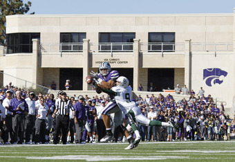 MANHATTAN, KS - OCTOBER 1: Chance Casey #9 of the Baylor Bears defends a pass to Andre McDonald #18 of the Kansas State Wildcats at Bill Snyder Family Football Stadium on October 1, 2011 in Manhattan, Kansas. The Wildcats won 36-35. (Photo by Joe Robbins/