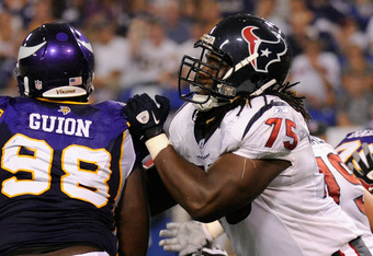 MINNEAPOLIS, MN - SEPTEMBER 01: Letroy Guion #98 of the Minnesota Vikings battles for position against Derek Newton #75 of the Houston Texans in the first half on September 1, 2011 at Hubert H. Humphrey Metrodome in Minneapolis, Minnesota. (Photo by Hanna