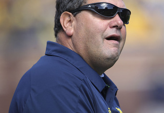 ANN ARBOR, MI - OCTOBER 01: Head coach Brady Hoke of the Michigan Wolverines watches the action during the game against the Minnesota Golden Gophers at Michigan Stadium on October 1, 2011 in Ann Arbor, Michigan.  (Photo by Leon Halip/Getty Images)