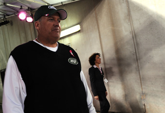 BALTIMORE, MD - OCTOBER 2: Head coach Rex Ryan of the New York Jets walks onto the field before taking on the Baltimore Ravens at M&T Bank Stadium on October 2, 2011 in Baltimore, Maryland. (Photo by Patrick Smith/Getty Images)