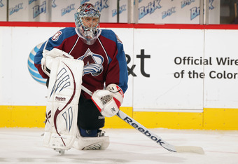 DENVER, CO - SEPTEMBER 28:  Goalie Semyon Varlamov #1 of the Colorado Avalanche warms up prior to facing the Los Angeles Kings at the Pepsi Center on September 28, 2011 in Denver, Colorado.  (Photo by Doug Pensinger/Getty Images)
