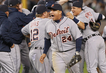 NEW YORK, NY - OCTOBER 06:  Miguel Cabrera #24 of the Detroit Tigers celebrates after they won 3-2 against the New York Yankees during Game Five of the American League Championship Series at Yankee Stadium on October 6, 2011 in the Bronx borough of New Yo