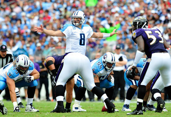 NASHVILLE, TN - SEPTEMBER 18:  Quarterback Matt Hasselbeck #8 of the Tennessee Titans calls an audible against the Baltimore Ravens at LP Field on September 18, 2011 in Nashville, Tennessee. Tennessee won 26-13.  (Photo by Grant Halverson/Getty Images)