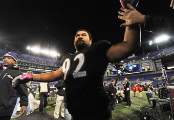 BALTIMORE - OCTOBER 2:  Haloti Ngata #92 of the Baltimore Ravens waves to the crowd after the game against the New York Jets at M&T Bank Stadium on October 2. 2011 in Baltimore, Maryland. The Ravens defeated the Jets 34-17. (Photo by Larry French/Getty Im
