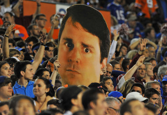 GAINESVILLE, FL -  OCTOBER 1:  A large poster of coach Will Muschamp of Florida Gators is displayed by fans during play against the Alabama Crimson Tide October 1, 2011 at Ben Hill Griffin Stadium in Gainesville, Florida.  (Photo by Al Messerschmidt/Getty