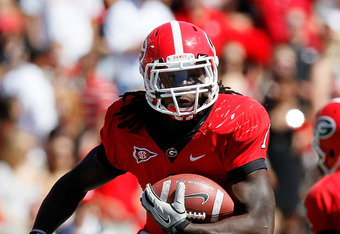 ATHENS, GA - OCTOBER 01:  Isaiah Crowell #1 of the Georgia Bulldogs rushes upfield against the Mississippi State Bulldogs at Sanford Stadium on October 1, 2011 in Athens, Georgia.  (Photo by Kevin C. Cox/Getty Images)