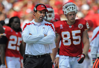 KANSAS CITY, MO - SEPTEMBER 11:  Head coach Todd Haley of the Kansas City Chiefs walks along the sidelines during the second half against the Buffalo Bills on September 11, 2011 at Arrowhead Stadium in Kansas City, Missouri.  The Bills beat the Chiefs 41-