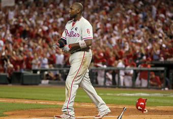 ST LOUIS, MO - OCTOBER 05:  Ryan Howard #6 of the Philadelphia Phillies reacts after striking out swinging against pitcher Marc Rzepczynski #34 of the St. Louis Cardinals in the eighth inning in Game Four of the National League Division Series at Busch St