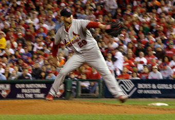 PHILADELPHIA, PA - OCTOBER 07:  Chris Carpenter #29 of the St. Louis Cardinals throws a pitch against the Philadelphia Phillies during Game Five of the National League Divisional Series at Citizens Bank Park on October 7, 2011 in Philadelphia, Pennsylvani