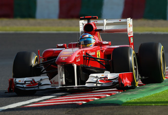 SUZUKA, JAPAN - OCTOBER 08:  Fernando Alonso of Spain and Ferrari drives during qualifying for the Japanese Formula One Grand Prix at Suzuka Circuit on October 8, 2011 in Suzuka, Japan.  (Photo by Clive Mason/Getty Images)