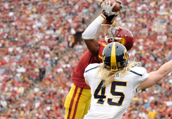 USC Safety T.J. McDonald intercepts a pass against Cal in 2010, and had 2 INTs last week in the Arizona game