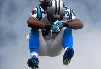 CHARLOTTE, NC - SEPTEMBER 25:  DeAngelo Williams #34 of the Carolina Panthers of the Carolina Panthers against the Jacksonville Jaguars during their game at Bank of America Stadium on September 25, 2011 in Charlotte, North Carolina.  (Photo by Streeter Le