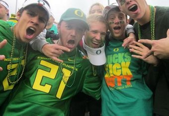 Oregon students in the stadium before the game. Pictured: Evan Valdovinos, Bryan Kalbrosky, Andy Archer, Daniel Katz, Ian Engelbert.