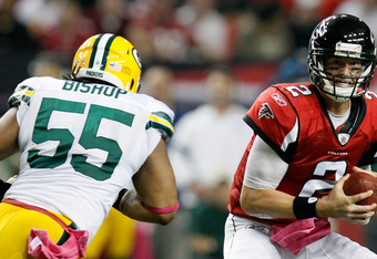 ATLANTA, GA - OCTOBER 09:  Matt Ryan #2 of the Atlanta Falcons looks to pass against Desmond Bishop #55 of the Green Bay Packers at Georgia Dome on October 9, 2011 in Atlanta, Georgia.  (Photo by Kevin C. Cox/Getty Images)