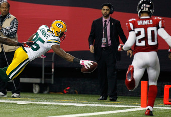 ATLANTA, GA - OCTOBER 09:  Greg Jennings #85 of the Green Bay Packers scores a touchdown against the Atlanta Falcons at Georgia Dome on October 9, 2011 in Atlanta, Georgia.  (Photo by Kevin C. Cox/Getty Images)