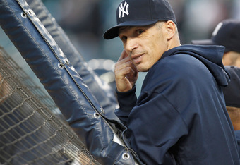 DETROIT, MI - OCTOBER 04: Manager Joe Girardi looks on during batting practice prior to playing the Detroit Tigers in game four of the American League Division Series at Comerica Park on October 4,  2011 in Detroit, Michigan. (Photo by Gregory Shamus/Gett