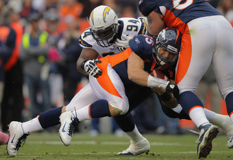 DENVER, CO - OCTOBER 09:  Quarterback Tim Tebow #15 of the Denver Broncos runs into guard Zane Beadles #68 of the Denver Broncos and is tackled by defensive end Corey Liuget #94 of the San Diego Chargers at Sports Authority Field at Mile High on October 9