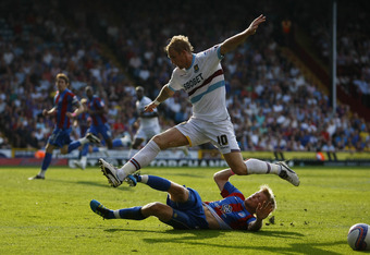 LONDON, ENGLAND - OCTOBER 01:  Jonathan Parr of Crystal Palace tackles Jack Collison of West Ham during the npower Championship match between Crystal Palace and West Ham United at Selhurst Park on October 1, 2011 in London, England.  (Photo by Dan Istiten