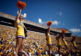 BATON ROUGE, LA - OCTOBER 08:  Members of the Louisiana State University Tiger Cheerleaders cheer during the game against the Florida Gators at Tiger Stadium on October 8, 2011 in Baton Rouge, Louisiana.  (Photo by Chris Graythen/Getty Images)