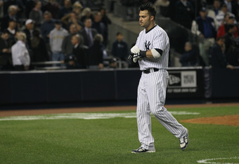 NEW YORK, NY - OCTOBER 06:  Nick Swisher #33 of the New York Yankees reacts after he struck out with the bases loaded to end the bottom of the seventh inning against the Detroit Tigers during Game Five of the American League Championship Series at Yankee