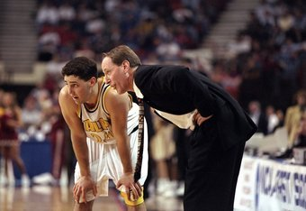 15 Mar 1998:  Guard Bryce Drew of the Valparaiso Crusaders talks to his father and coach Homer Drew during a game against the Florida State Seminoles in the second round of the NCAA Tournament at the Myriad in Oklahoma City, Oklahoma.  Florida State defea