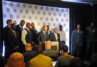 NEW YORK, NY - OCTOBER 04:  Derek Fisher, President of the National Basketball Players Association, (C) and Billy Hunter, Executive Director of the National Basketball Players Association, speak at a press conference after NBA labor negotiations at The We