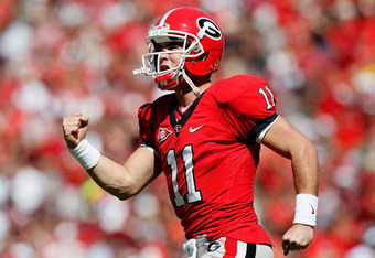 ATHENS, GA - OCTOBER 01:  Aaron Murray #11 of the Georgia Bulldogs celebrates after a touchdown pass against the Mississippi State Bulldogs at Sanford Stadium on October 1, 2011 in Athens, Georgia.  (Photo by Kevin C. Cox/Getty Images)