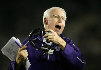 PASADENA, CA - SEPTEMBER 19:  Kansas State Wildcats head coach Bill Snyder yells towards the bench during the first half against the UCLA Bruins at the Rose Bowl on September 19, 2009 in Pasadena, California. UCLA defeated Kansas State 23-9.  (Photo by Je
