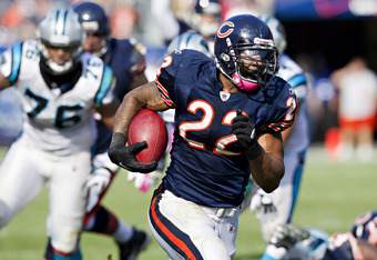 CHICAGO, IL - OCTOBER 2:   Matt Forte #22 of the Chicago Bears runs the ball against the Carolina Panthers at the Soldier Field on October 2, 2011 in Chicago, Illinois.  The Bears defeated the Panthers 34 to 29.  (Photo by Wesley Hitt/Getty Images)