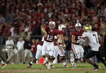 STANFORD, CA - OCTOBER 08:  Andrew Luck #12 of the Stanford Cardinal throws the ball during their game against the Colorado Buffaloes at Stanford Stadium on October 8, 2011 in Stanford, California.  (Photo by Ezra Shaw/Getty Images)