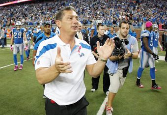 DETROIT, MI - OCTOBER 10:  Head coach Jim Schwartz heads onto the field after beating the Chicago Bears 24-13 at Ford Field on October 10, 2011 in Detroit, Michigan.  (Photo by Gregory Shamus/Getty Images)