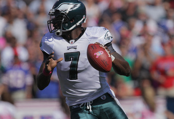 ORCHARD PARK, NY - OCTOBER 09: Michael Vick #7 of the Philadelphia Eagles drops back to pass during the first half at Ralph Wilson Stadium on October 9, 2011 in Orchard Park, New York. (Photo by Brody Wheeler/Getty Images)