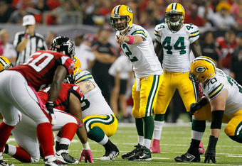 ATLANTA, GA - OCTOBER 09:  Aaron Rodgers #12 of the Green Bay Packers yells to his offense against the Atlanta Falcons at Georgia Dome on October 9, 2011 in Atlanta, Georgia.  (Photo by Kevin C. Cox/Getty Images)
