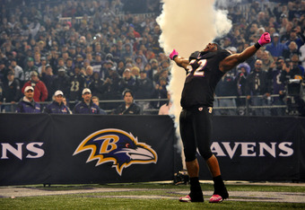 BALTIMORE - OCTOBER 2:  Ray Lewis #52 of the Baltimore Ravens takes the field before the game against the New York Jets at M&T Bank Stadium on October 2. 2011 in Baltimore, Maryland. The Ravens lead the Jets 27-17 at the half. (Photo by Larry French/Getty
