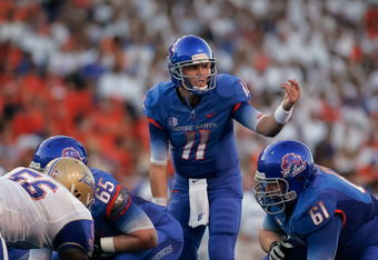 BOISE, ID - SEPTEMBER 24: Kellen Moore #11 of the Boise State Broncos calls a play against the Tulsa Golden Hurricane at Bronco Stadium on September 24, 2011 in Boise, Idaho.  (Photo by Otto Kitsinger III/Getty Images)