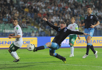 SOFIA, BULGARIA - SEPTEMBER 02: Wayne Rooney of England misses a late chance for his hat-trick during the UEFA EURO 2012 group G qualifying match between Bulgaria and England at the Vasil Levski National Stadium on September 2, 2011 in Sofia, Bulgaria.  (