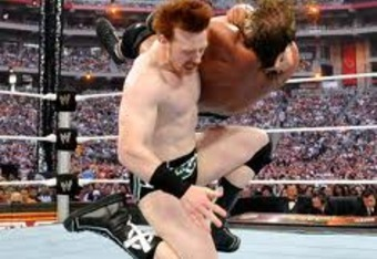 Sheamus delivers a Celtic Cross to WM26 opponent Triple H