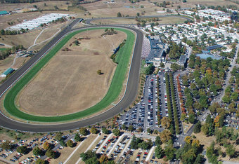 An overhead view of Keeneland Race Course.